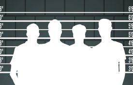 Black and white illustration of a suspect lineup