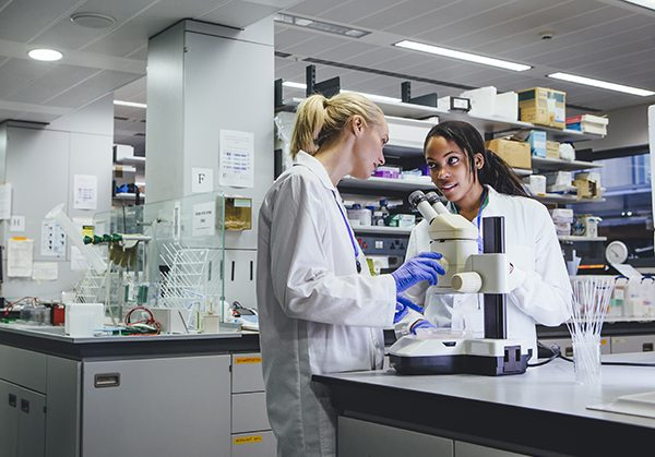 This is Photo of two women using a microscope in a research laboratory.
