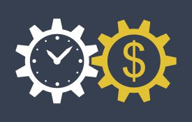 This is an illustration of a clock in a gear interlocking with a gear that has a dollar sign