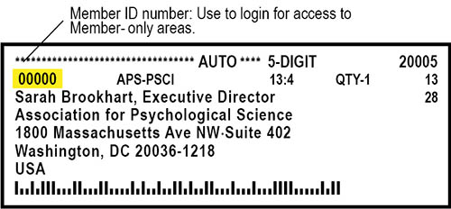 Your Member ID appears on APS mailing labels in the upper left corner.
