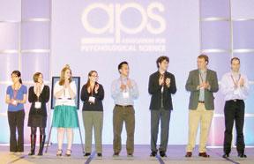 Student Award Winners Honored at the Opening Ceremony. L to R: Winnie Wai Lan Chan; Julie W. Messinger; Sara M. House; Eva A. Padilla; Stephen H. Chen; Igor Grossmann; Paul J. Schroeder, III; David Berle