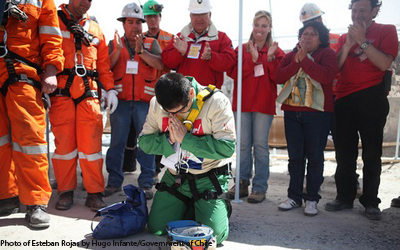This is a photo of Chilean Miner, Esteban Rojas, after being rescued on 10/13/2010. Photo by Hugo Infante/Government of Chile