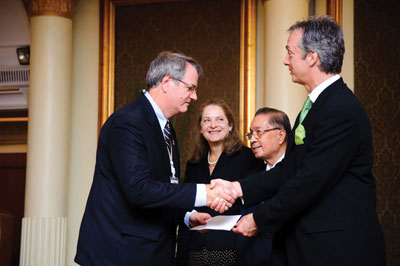 Bruce Svare, former Fulbright senior scholar to Thailand, is recognized for his fund-raising efforts on behalf of the Thai-U.S. Educational Foundation (TUSEF). Pictured are, from left, Svare, Deputy U.S. Secretary of State Alina Romanowski, His Eminence Manaspas Xuto, former Thai ambassador to the United States and adviser to the Thai minister of foreign affairs, and U.S. Ambassador to Thailand Eric John. Svare is an APS Fellow and  professor of psychology and neuroscience at the State University of New York at Albany.