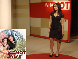 Azadeh Aalai, Montgomery College, modeling what to wear after her fashion makeover on the show What Not to Wear