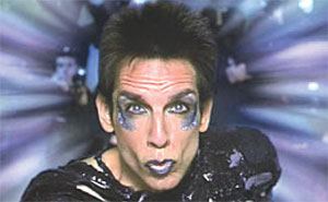 This is a photo of male model Derek Zoolander. He is really really ridiculously good looking with that glitter on his face!