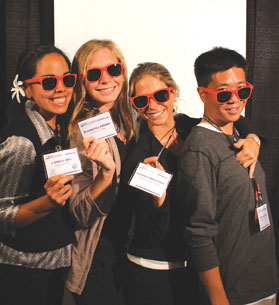 J. Noelle Hall, Elizabeth Askren, Mariana Romo, and Ryan Ikeuchi show off their new APS shades after presenting posters at the APS 23rd Annual Convention.