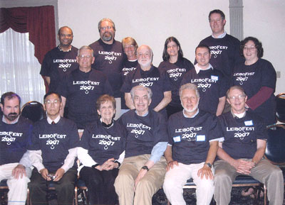 LeiboFest 2007. Front row (L to R): Bob Hennessy, Ken Shiina, Eileen and Hersh Leibowitz, Fred Owens, Chris Johnson. Back row (L to R): Julian Thayer, Larry Guzy, David Williams, Inger Lindblad-Williams, Malcolm Cohen, Ellie Francis, Justin Owens, Rick Tyrrell, Johnell Brooks.