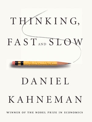 This is a photo of the cover of Thinking, Fast and Slow by Daniel Kahneman.