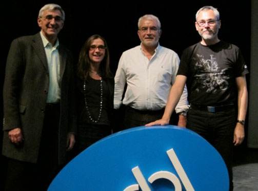 The speakers: (left to right) Arthur Glenberg, Gabriella Vigliocco, Gün R Semin, and Bernhard Hommel