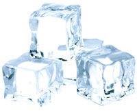 This is a photo of four ice cubes.