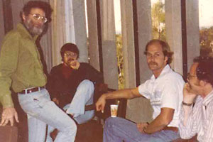From the left: Donald Norman, David Rumelhart, Mark Wallen, and James L. McClelland, in a picture taken in the late 1970s.
