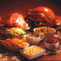 This is a photo of a holiday meal.
