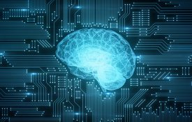 This is an illustration showing a glowing brain and circuitboard