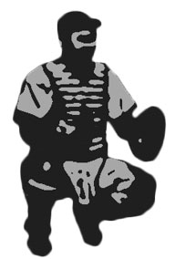 This is a photo of a drawing of a catcher playing baseball.