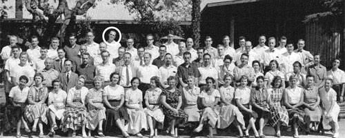George A. Miller, pictured here with the 1958–59 class of Fellows at the Center for Advanced Study in the Behavioral Sciences, where he worked on his classic book Plans and the Structure of Behavior. <em>Photo courtesy of the Center for Advanced Study in the Behavioral Sciences at Stanford University Archives</em>