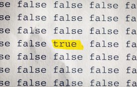 "This is a photo of the word ""true"" highlighted in yellow."