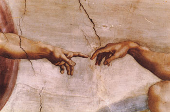 This is a photo of Michael Angelo's The Creation of Adam.