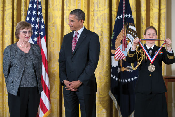 This is a photo of Anne Treisman receiving the National Medal of Science from President Obama.