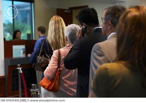 People Waiting in Line at a Bank