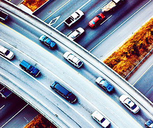 This is a photo of cars traveling on a freeway.