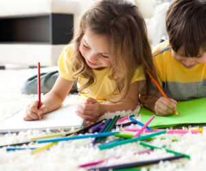 This is a photo of children drawing.