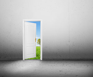 This is a photo of a door leading to a green, sunny setting.