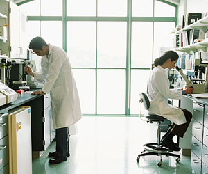 This is a photo of two scientists working in the lab.