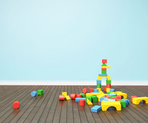 This is a photo of children's blocks on the floor.