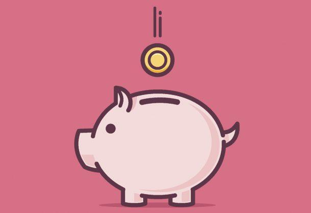 Piggy bank illustration against pink background