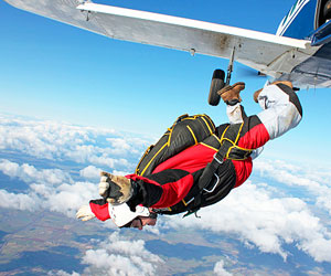 This is a photo of a man skydiving.