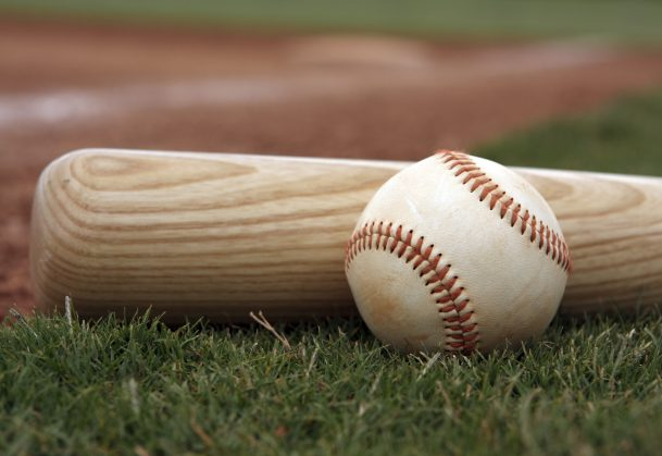 A picture of a baseball and bat.