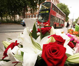 This is a photo of a flower memorial in London.