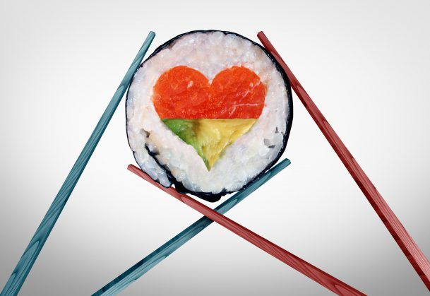 Sushi roll in the shape of a heart