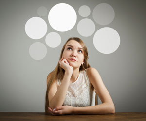 This is a photo of a woman daydreaming.