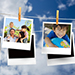 This is a photo of family photographs hanging on a clothesline in front of a cloudy sky.