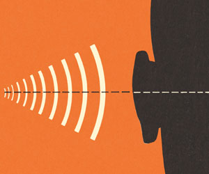 This is an illustration of sound waves approaching a person's ear.