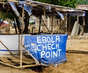 A makeshift checkpoint in Porto Loko, Sierra Leone.