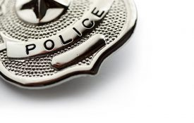 Police badge on white background.