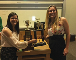 This is a photo of Alyson Faires and Sarah Falkowitz, who won the 2016 APS Psychology Jeopardy contest.