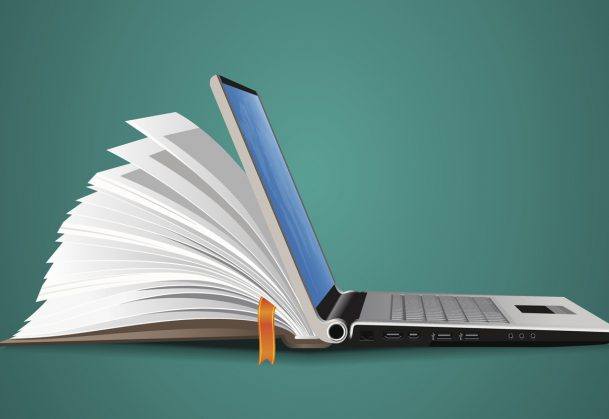 This is an illustration of a laptop that is also a book.