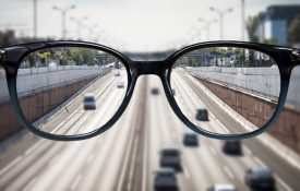 Clear vision of traffice through a pair of glasses