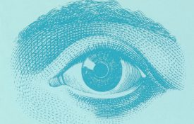 Illustration of an eye on a blue background