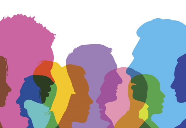 Colourful overlapping silhouettes of head profiles