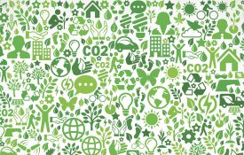 Illustration showing icons related to nature and environment