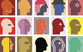 This is an illustration of diverse and colorful silhouettes of human heads