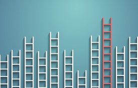Ladders of different heights against a teal background