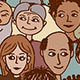 Diverse crowd of people - seamless pattern of hand drawn faces from various age groups and ethnic / religious backgrounds