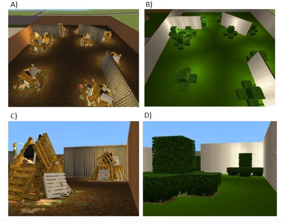 This is a graphic showing different virtual scenes from the study
