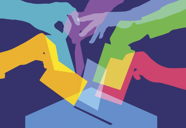 Colourful overlapping silhouettes of people voting.