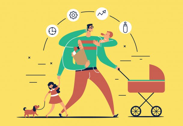 Man with task icons around head and several arms carries newborn child, stroller, bag with food, talks on phone and leads daughter walking dog on leash.